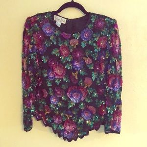 Floral Sequined Formal Top